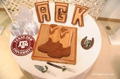 Grooms cakes: boots & his initials