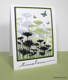 card by Darnell Knauss..... stamped three times ... twice in light colors ... third time embossed in black