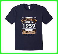 Mens Made in October, 1959 - 58th Birthday Gift T-shirt 2XL Navy - Birthday shirts (*Amazon Partner-Link)