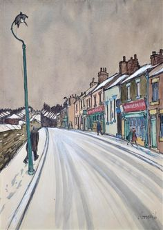 Figures On A Snowy Street In Spennymoor by Norman Stansfield Cornish (1919 - 2014)