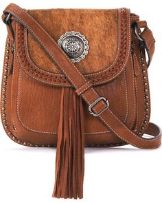 Complete your western look with this stunning Blazin Roxx Ella Messenger Bag. This bag features a faux calf hair-on design with a silver toned concho in Leather Workshop, Messenger Bag Men, Leather Bags Handmade, Leather Purses, Leather Wallets, Small Bags, Fashion Handbags, Hermes Handbags, Purses And Bags