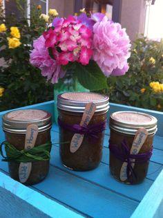 WHOLESALE BODY SCRUBS. Raw Organic Sugar Scrubs stored in Glass Mason Jars 16 oz and 8 oz:Set of 3 Body Scrubs, Burlap Gifts Mason Jar Gifts.  via Etsy.