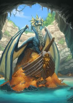 A page for those who love awesome pics of Dragons & all sorts of Fantasy. Dragon Bleu, Blue Dragon, Water Dragon, Emerald Dragon, Dnd Dragons, Cool Dragons, Dungeons And Dragons Art, Fantasy Monster, Monster Art
