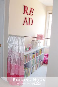 Attempting Aloha: Think outside the {toy} Box - Over 50 Organizational Tips for . Attempting Aloha: Think outside the {toy} Box – Over 50 Organizational Tips for Kids' Spaces Girl Room, Girls Bedroom, Extra Bedroom, Cute Curtains, Half Curtains, Kids Lamps, Toy Rooms, Book Nooks, Kid Spaces