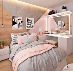 Pink, white and grey girls bedroom; pastel bedroom decor ins Stylish Bedroom, Modern Bedroom, Modern Teen Room, Minimalist Bedroom, Cool Room Designs, Pastel Bedroom, Pink Gray Bedroom, Teen Bedroom Colors, Pink And Grey Room