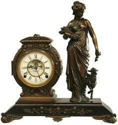 Antique Goddess Figural Mantel Clock, Signed Mueller's Sons, New York 1882 Unusual Clocks, Cool Clocks, Big Clocks, Antique Watches, Antique Clocks, Traditional Clocks, Carriage Clocks, Clock Shop, Mantel Clocks