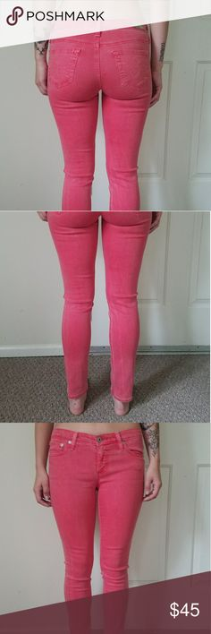 Adriano Goldschmied pink skinny stretchy jeans The most comfortable pair of fashionable jeans you will ever wear! Super flexible, great fit and awesome spring / summer color! In perfect condition Make me an offer Adriano Goldschmied AG Jeans Skinny
