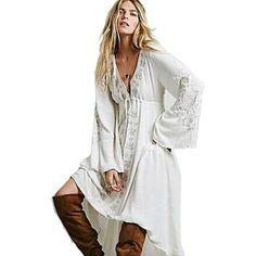 Estate hippie campana vestito dal manicotto di trasporto femininos persone bianco ricamo vintage alto basso vestiti lunghi donne boho persone
