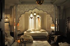 Wendy Beauchamp bedroom - love the use of Moroccan design. All white! Perfection. Production design by Rachel O'Toole