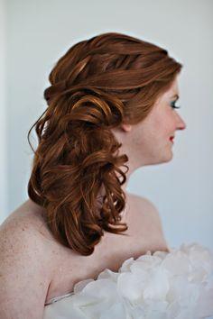 Side swept wedding hair, photo by BinitaPatelPhotography.com - for @Joyce Chan and@rachelsnow?