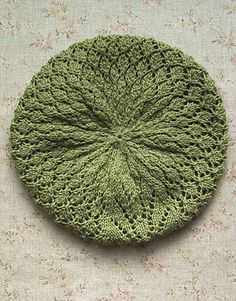 Soft Linen Lace Beret pattern by Meg Kealey (Myers) from the Classic Elite Yarns Web-Letter.  I love a good hat, and it's a bonus with pretty lace.  call it a tam, if you want, and the pattern is FREE on Ravelry!