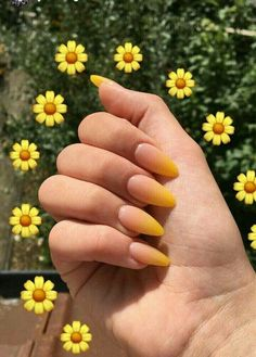 Shared by Patricia Carrera. Find images and videos on We Heart It the app to g Shared by Patricia Carrera. Find images and videos on We Heart It the app to g nails ideas Aycrlic Nails, Fun Nails, Pretty Nails, Nail Manicure, Yellow Nails Design, Yellow Nail Art, Almond Acrylic Nails, Cute Acrylic Nails, Almond Nail Art