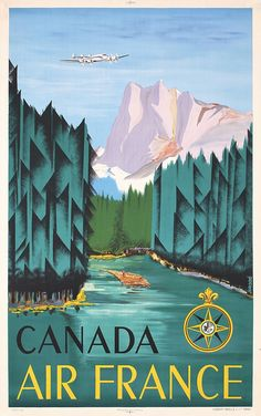 Lot 322: Original 1950s Air France Canada Travel Poster Affiche - PosterConnection Inc.   AuctionZip