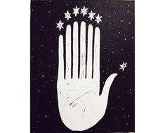 Pleiades Stars Printmaking woodblock print stars space by VIZArt