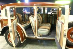 Interior of a 1929 Ruxton Sedan....Wow, I didn't know the interiors were striped as well!...and I thought the 70's cars were garish! Ruxtons were made in New York City only from 1929-1930.
