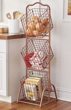 Wire 3 Basket Stand (maybe to sort recyclables? Kitchen Baskets, Kitchen Items, Home Decor Kitchen, Diy Home Decor, Kitchen Design, Kitchen Utensils, Kitchen Tools, Cute Kitchen, New Kitchen