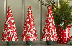 Red and white button christmas trees using the styrocraft cone!
