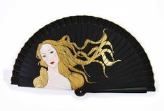 "Personal design and adaptation of ""the Birth of Venus"" of Botticelli. Painted Fan, Hand Painted, Hand Held Fan, Hand Fans, Paper Lanterns, Vintage Pictures, North America, Fancy, Japanese"