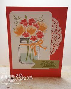 jar of love flower bunch, everyday jars, Stampin Up Scrapbooking, Scrapbook Cards, Mason Jar Cards, Mason Jars, Love Jar, Jar Of Hearts, Pots, Stamping Up Cards, Rubber Stamping