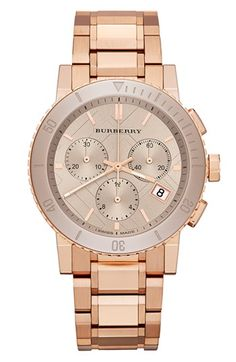 Burberry Ceramic Bezel Chronograph Bracelet Watch, 38mm   Nordstrom Currently obsessed with watches!