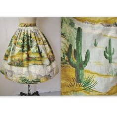 50's Novelty Print Skirt // Vintage 1950's Desert Print Barkcloth Full Pleated Skirt S M