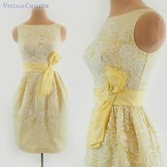 yellow with ivory wedding   ... 60s Ivory & Yellow Lace Cocktail Party Wedding Mini Tulip Dress XS-XXS