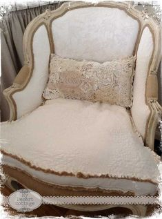 **My Desert Cottage**: Reupholstering a chair... Before and After!