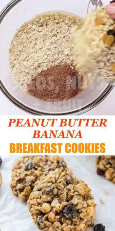 These healthy Peanut Butter Banana Breakfast Cookies are a nutritious and delicious breakfast treat, snack and could even be a healthy dessert. They are full of whole grain oats, nuts, seeds and dried fruit. Banana Breakfast Cookie, Breakfast Cookie Recipe, Healthy Breakfast Cookies, Dessert Simple, Healthy Peanut Butter, Peanut Butter Banana, Quick Dessert Recipes, Easy Desserts, Dessert Healthy