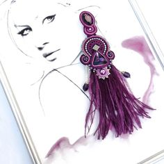 #handmadeearrings #purpleearrings #fashionearrings #featherearrings #soutacheearrings Purple Earrings, Feather Earrings, Earrings Handmade, Handmade Jewelry, Jewelry Design Drawing, Shibori, Soutache Earrings, Designs To Draw, Fashion Earrings