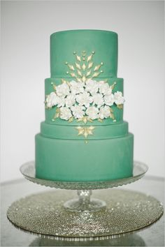 green and gold mint wedding cake baked with love from Anne Kathleen Cakes