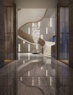 Oriental inspiration with vertical lines and a graceful arc of the spiral staircase, to show the simplicity and more local exquisite space connection.