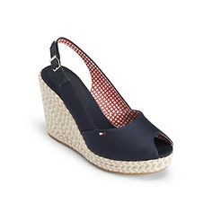 """Tommy Hilfiger women's shoe. Our favorite summertime treat, peep-toe slingbacks with an espadrille wedge. Not only are they flattering, they're super comfy too. <br/>•Wedge platform with cotton upper. <br/>•Padded footbed, textured rubber sole. <br/>•4 """" heel with 1"""" platform. <br/>•Imported.<br/>"""