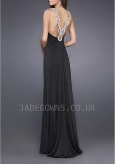 Fashion Black V-neck Evening Dresses With Crystals - 6103765 - Evening Dresses