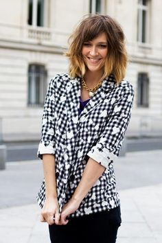 Short ombre hair with layers  soft bangs.  This has a blog w lots of ideas, fake braids etc