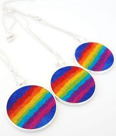 Felted Rainbow Pendant - A Funky Felt Art Pendant with a Colourful Rainbow.