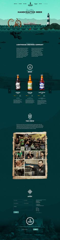 Lighthouse Brewing Co. Scrolling down the page takes you deeper underwater, and more in depth about the company and beer. By Alden Chong. Creative Web Design, Web Ui Design, Best Web Design, Design Design, Flat Design, Dashboard Design, Interface Web, User Interface Design, Website Design Inspiration