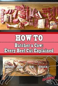 How To Butcher a Cow (Every Cut of Beef Explained) - Keto - Fleisch Parts Of A Cow, Beef Cuts Chart, Meat Butcher, Butcher Shop, Buy A Cow, Meat Recipes, Cooking Recipes, Beef Cattle, Tapas
