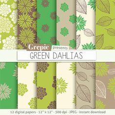 "Green flower digital paper: ""GREEN DAHLIAS"" clip art green floral patterns nature, dahlias paper leaves with dahlia flowers backgrounds #digitalpaper #bestofetsy"