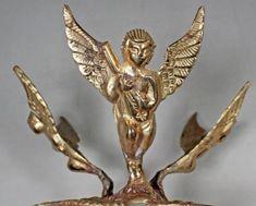 VTG Brass Cupid Angel Playing a Mandolin Egg Sphere Stand Holder Gemstone Ball Key Hooks, Zen Art, Mandolin, Cupid, Egg, Pottery, Brass, Brooch, Angel