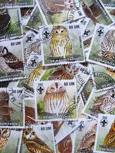 owl stamps - 24 - contemporary postal ephemera. $5.50, via Etsy.