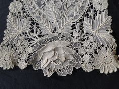ANTIQUE LACE-FINE BRUSSELS LACE LAPPETS W/POINT DE GAZE | eBay Украина