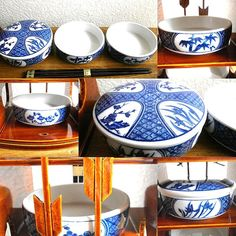 Vintage Japanese Bowls And Wood Case Set With by VintageFromJapan, $55.00