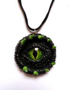 Mystical Black and Green Dragon eye pendant by AurorasLocket