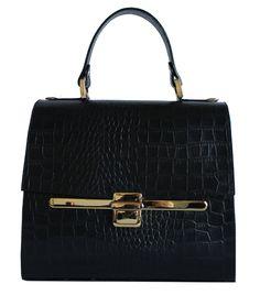 Bolso tipo bowling de piel color negro grabada en cocodrilo.  Black crocodile print leather bowling bag.