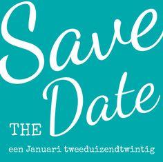 Save-the-date kaart: Trendy turquoise met witte tekst - voorkant