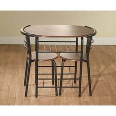 3 Pc Countertop Height Bar Set Table and Chairs Home Kitchen Storage ...