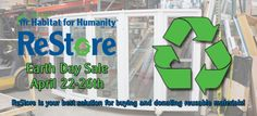 Twin Cities Habitat for Humanity ReStore sale! http://blog.tchabitat.org/blog/bid/100893/ReStore-Weeklong-Sale-in-Honor-of-Earth-Day