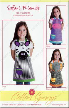 Cotton Ginny's Safari Friends The Pattern Hutch children's apron zebra hippo elephant applique craft pattern Sewing Hacks, Sewing Crafts, Sewing Projects, Craft Patterns, Sewing Patterns, Apron Patterns, Applique Patterns, Child Apron Pattern, Dress Up Aprons