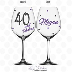 40 and Fabulous wine glass Name included 40th by ZoeyChristina