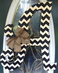 Need this for my front door. Curly Chevron Letter Monogram Door Hanger by EllieBelliesSigns- love this for the front door.